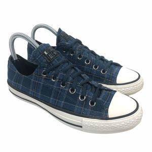 Converse 549655F Low Top Blue Plaid Sneakers 8